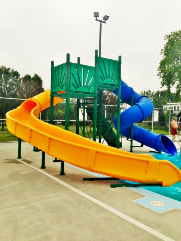 above ground luxury water slides blue