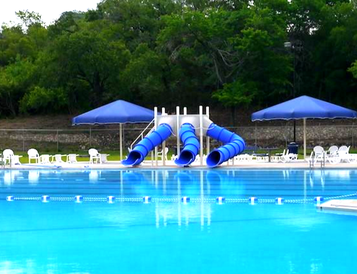 triple blue commercial pool slide