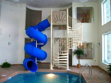 indoor blue mariner custom pool slide
