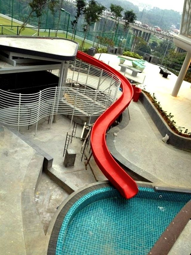 red above ground outdoor pool slide - Diy Above Ground Pool Slide