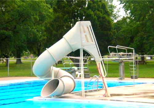 small outdoor custom baker pool slide