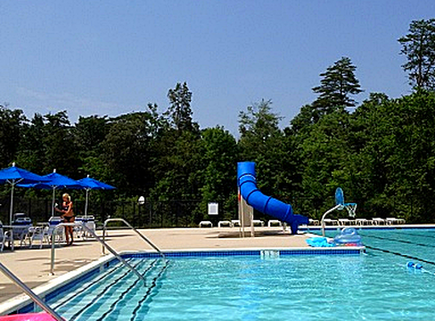 blue baker water slide with pool