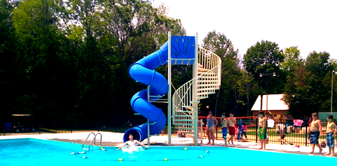mariner above ground water slide with staircase