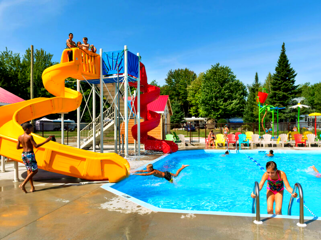 large custom water slide with kids